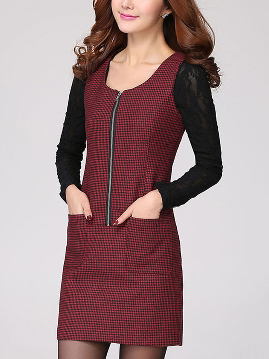 Sleeveless Houndstooth Patch Pocket Zips Bodycon Dress