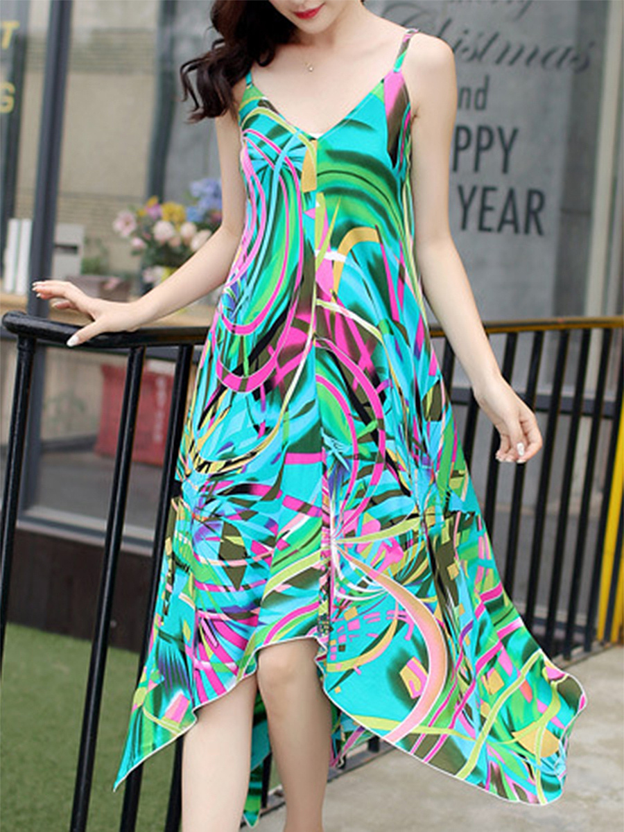 Tropical Spaghetti Strap Asymmetric Hem Printed Chiffon Maxi Dress