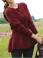Round-Neck-Plain-Peplum-Sweater