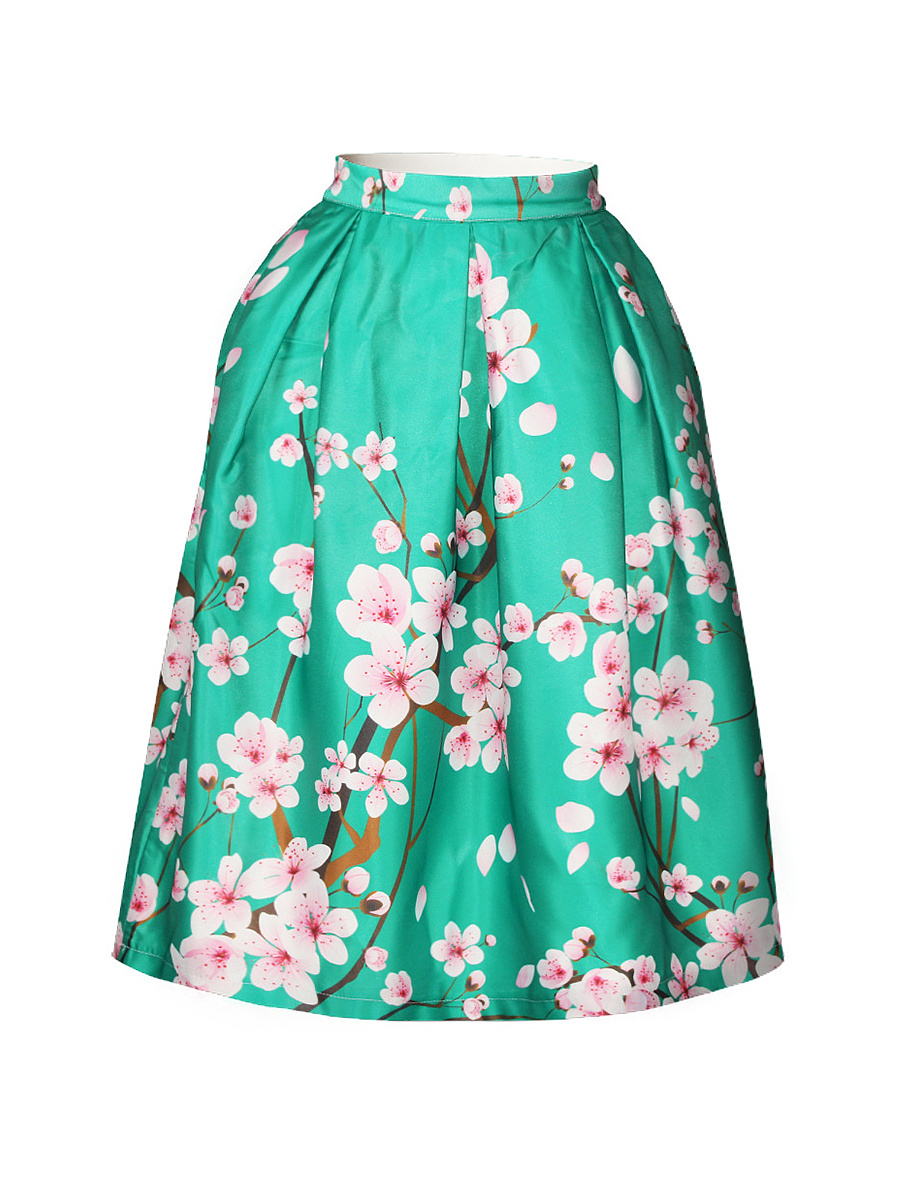 Attractive Floral Printed Flared Midi Skirt