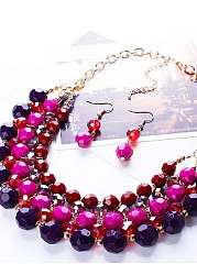 Bohemia Color Bead Necklace Earrings Set