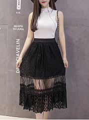Decortive Lace Plain Knee-Length Skirts For Women
