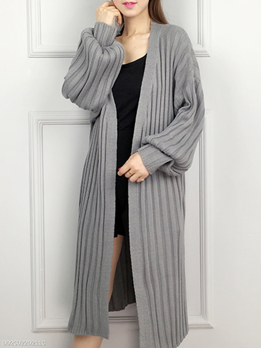 V Neck  Stripes  Puff Sleeve Knit Cardigans