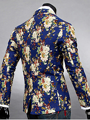 Notch Lapel Floral Printed Vented Single Button Men Blazer