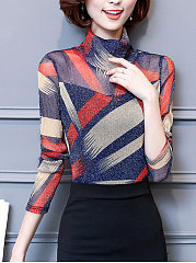 High Neck Hollow Out Printed Blouse