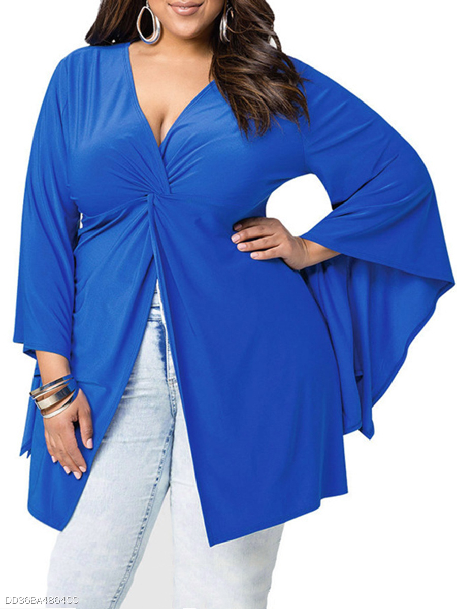 Deep V-Neck  Plain  Bell Sleeve  Long Sleeve Plus Size T-Shirts