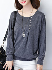 Round Neck  Plain Long Sleeve T-Shirt