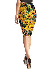 Sunflower Printed Pencil Midi Skirt