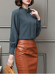 Autumn Spring  Polyester  Women  Round Neck  Decorative Button  Plain  Puff Sleeve  Long Sleeve Blouses