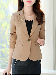 Notch Lapel Plain Brooch Single Button Blazer