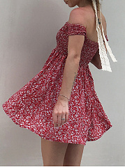 Off Shoulder Smocked Bodice Printed Skater Dress