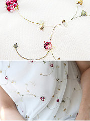 Summer  Chiffon  Women  Round Neck  Embroidery  Short Sleeve Blouses