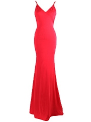 Spaghetti Strap Backless Plain Evening Dress