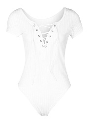 Deep V-Neck  Lace-Up  Plain Bodysuit