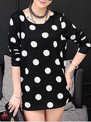 Round Neck Polka Dot Mini Shift Dress