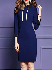 Fold-Over Collar  Plain Bodycon Dress