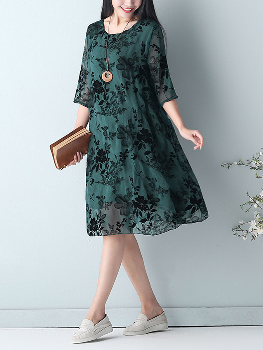 Floral Hollow Out Half Sleeve Shift Dress