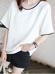 Round Neck  Contrast Trim  Plain  Short Sleeve Short Sleeve T-Shirt