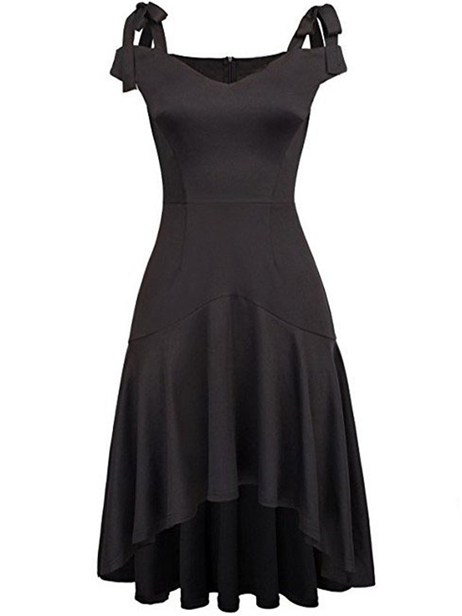 Open Shoulder Bowknot Plain High-Low Skater Dress