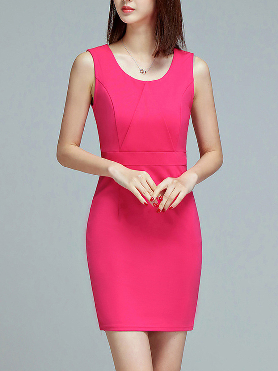 Solid Round Neck Sleeveless Bodycon Dress