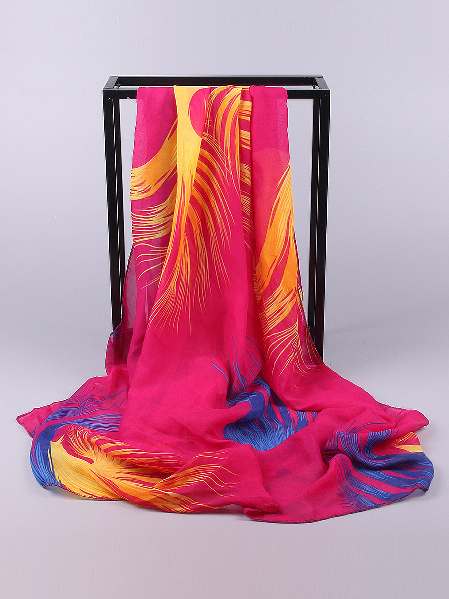 Chiffon Feather Printed Scarves