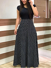 Round Neck  Patchwork  Polka Dot Maxi Dress