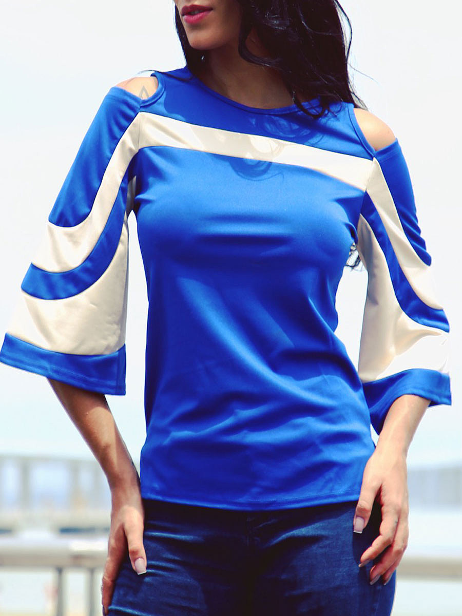Autumn Spring Summer  Polyester  Women  Round Neck  Color Block Plain Long Sleeve T-Shirts