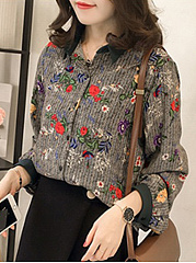 Button Down Collar  Loose Fitting  Floral Blouses