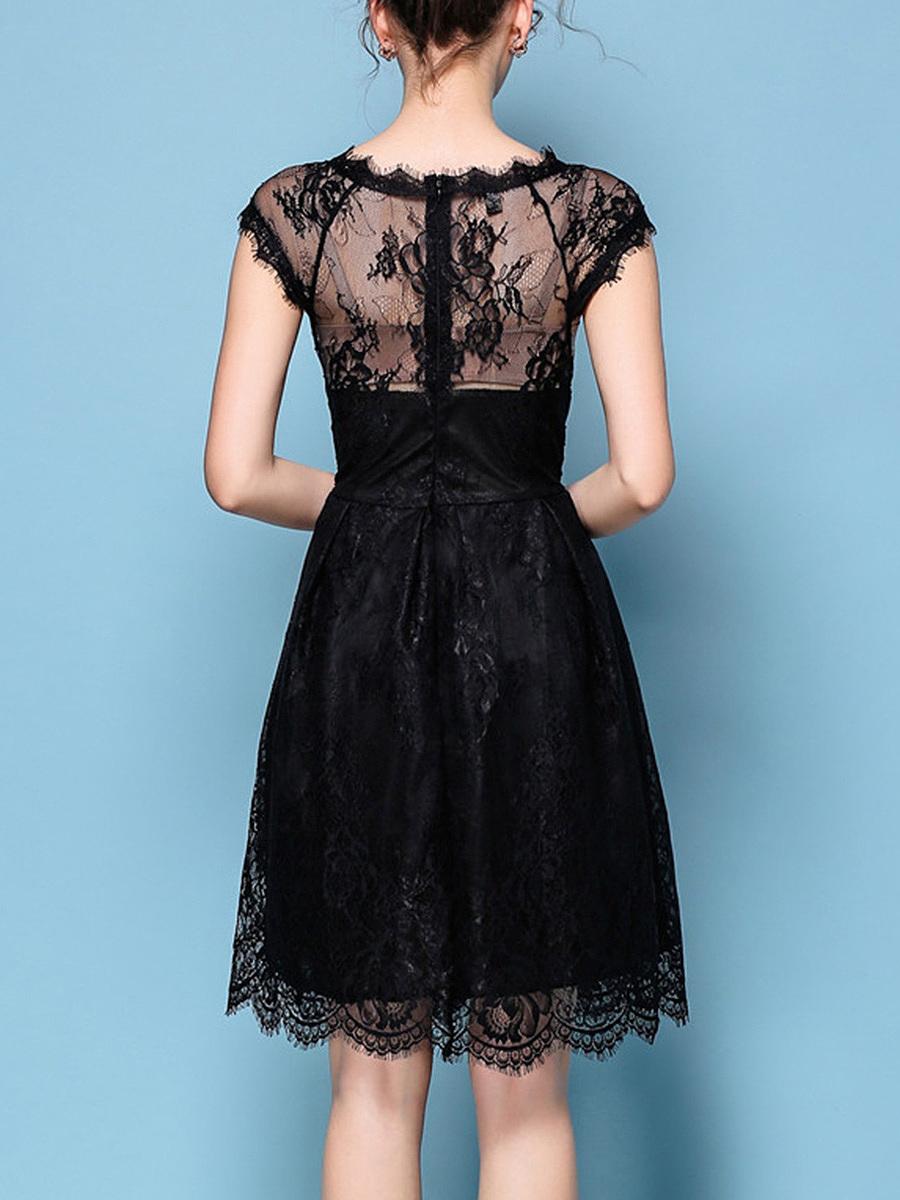 Black Lace See-Through Plain Round Neck Skater Dress - fashionMia.com