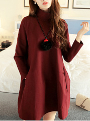 Band Collar  Plain Fashion Shift Dress