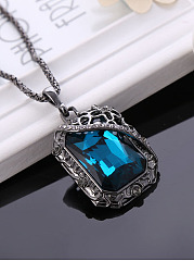 Squared Crystal Long Necklace
