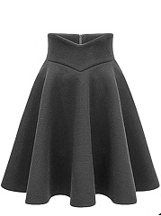 Plain Woolen Flared Midi Skirt