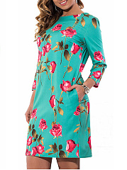 Round Neck  Floral Plus Size Bodycon Dresses
