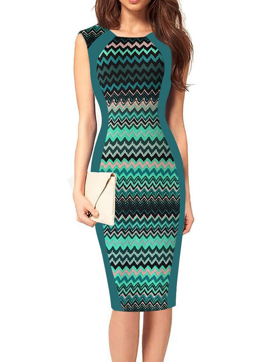 ecfe614c22 Round Neck Abstract Print Bodycon Dress – VOCOLOOK