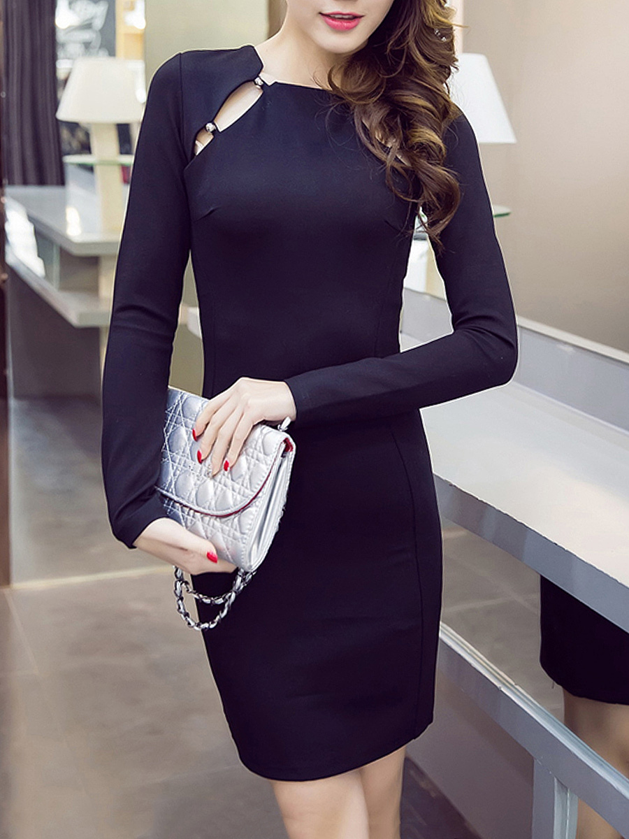 Cutout Plain Bodycon Dress