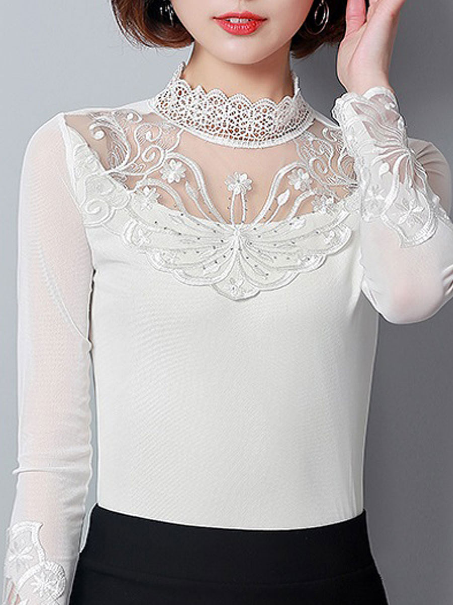 High Neck Decorative Lace Embroidery Long Sleeve T-Shirts. High ...