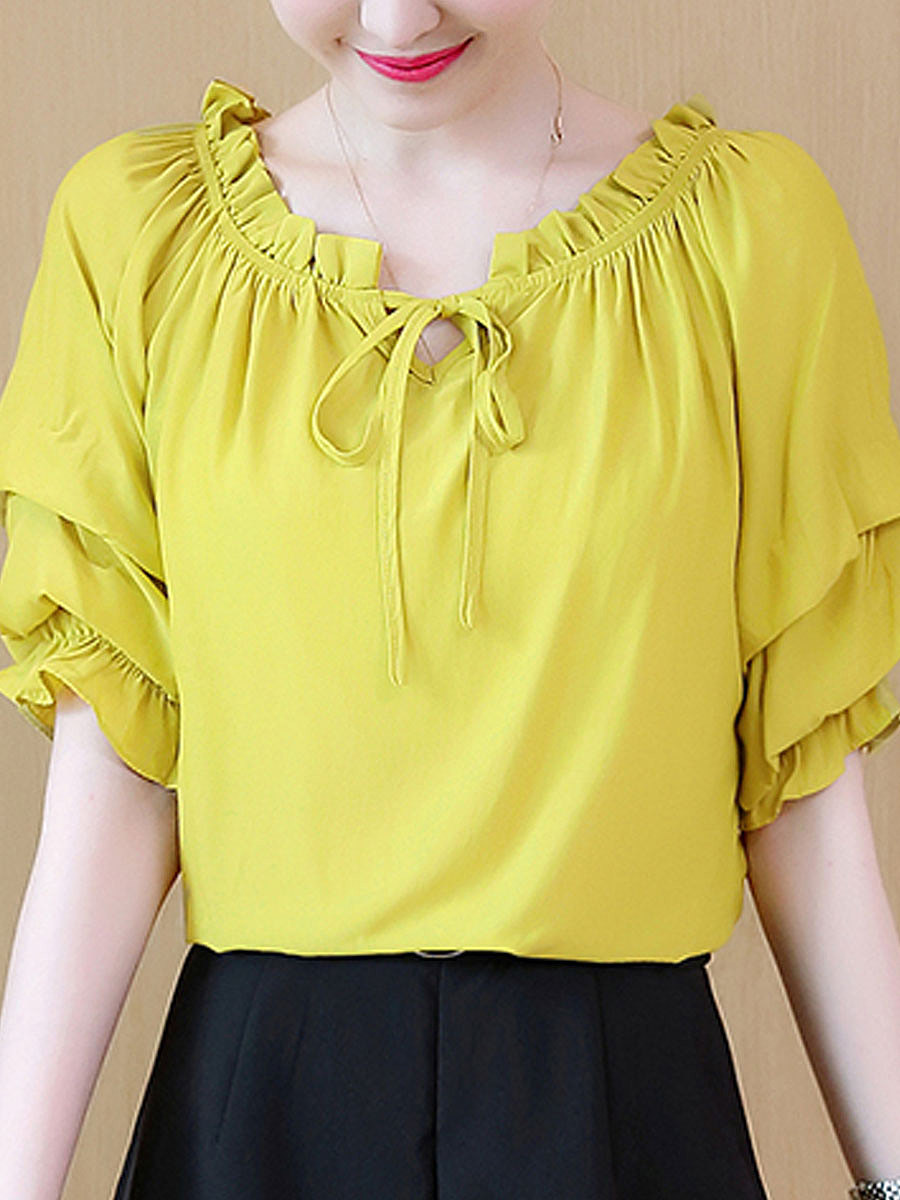 Summer  Polyester  Women  Tie Collar  Two Way  Plain  Short Sleeve Blouses