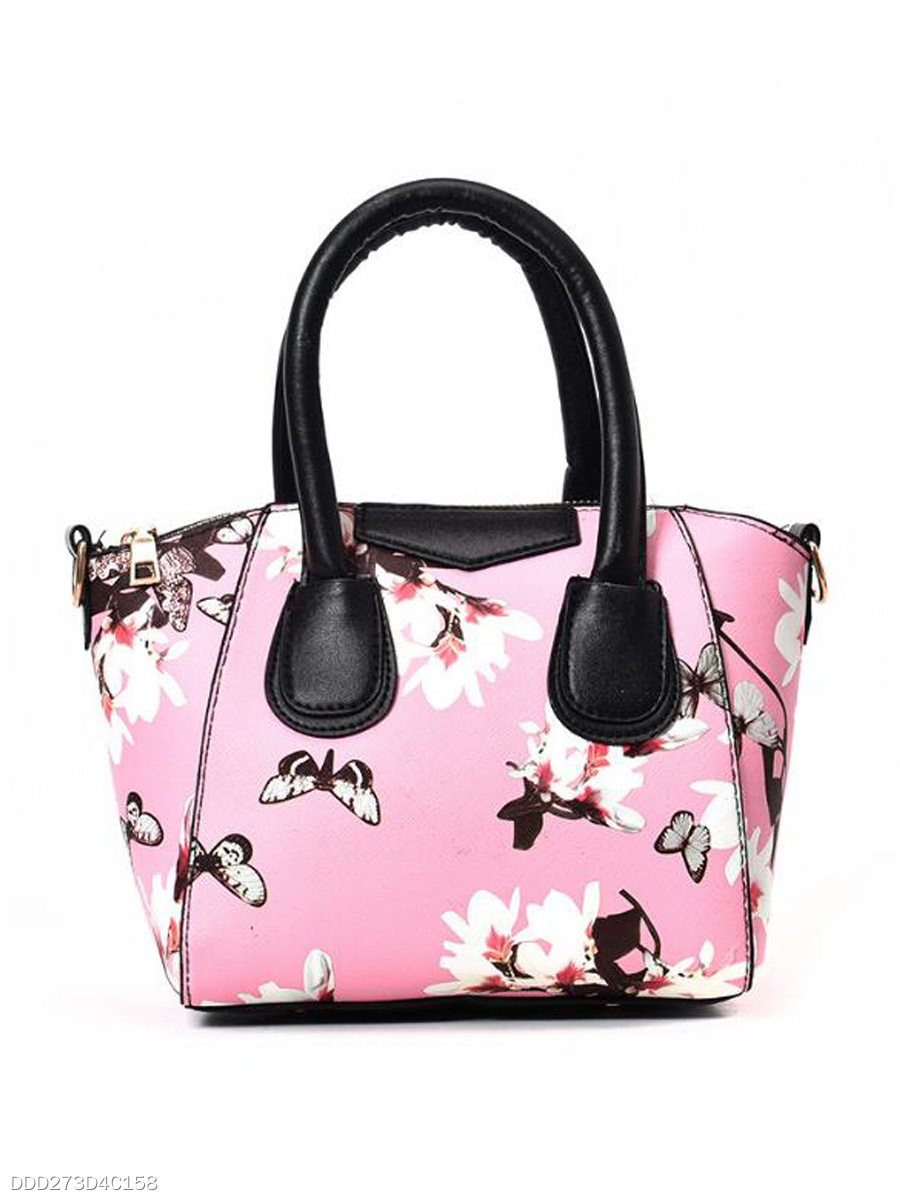 Elegant  Stylish Floral Butterflies Printed Hand Bag