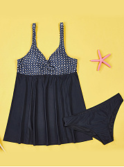 Spaghetti Strap  Polka Dot Skirted Swimwear