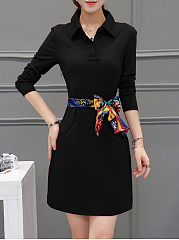 Polo Collar Removable Tie Shift Dress