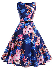 Round Neck Belt Skater Dress In Floral Printed
