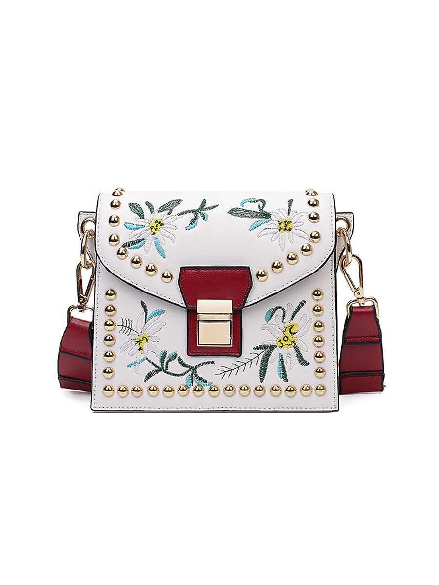 Colorful Ribbon Embroidery Crossbody Bag