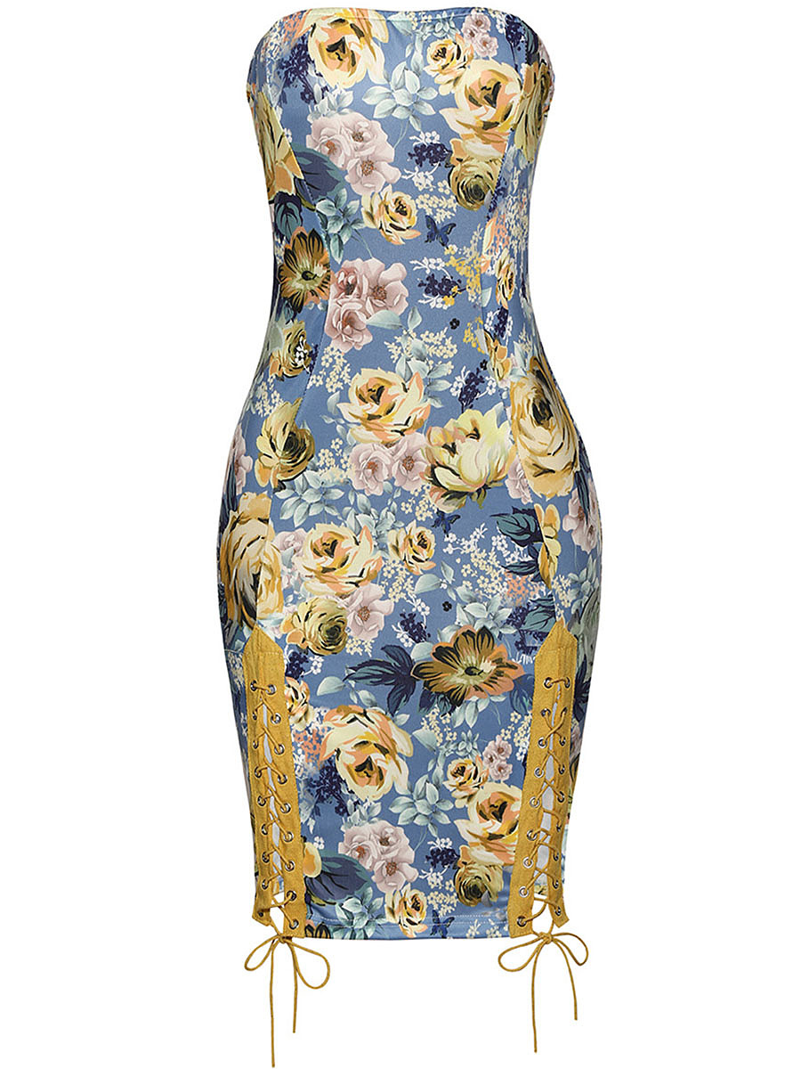 Sexy Strapless Lace-Up Floral Bodycon Dress