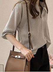 Summer  Cotton  Women  Turn Down Collar  Striped  Three-Quarter Sleeve Blouses