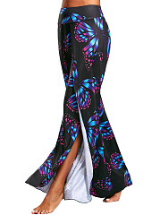 Butterfly Printed High Slit Wide-Leg Casual Pants