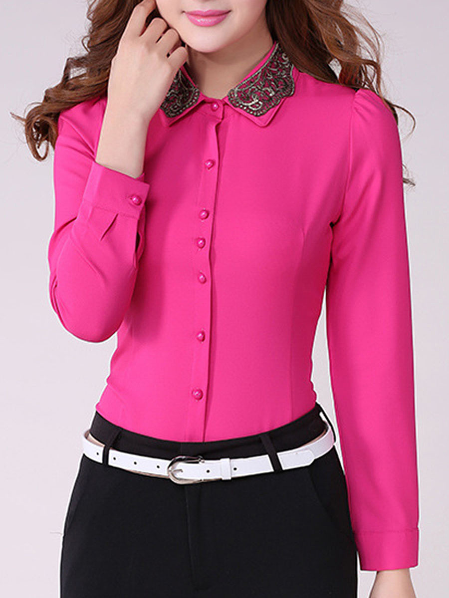 Turn Down Collar  Embroidery Blouse