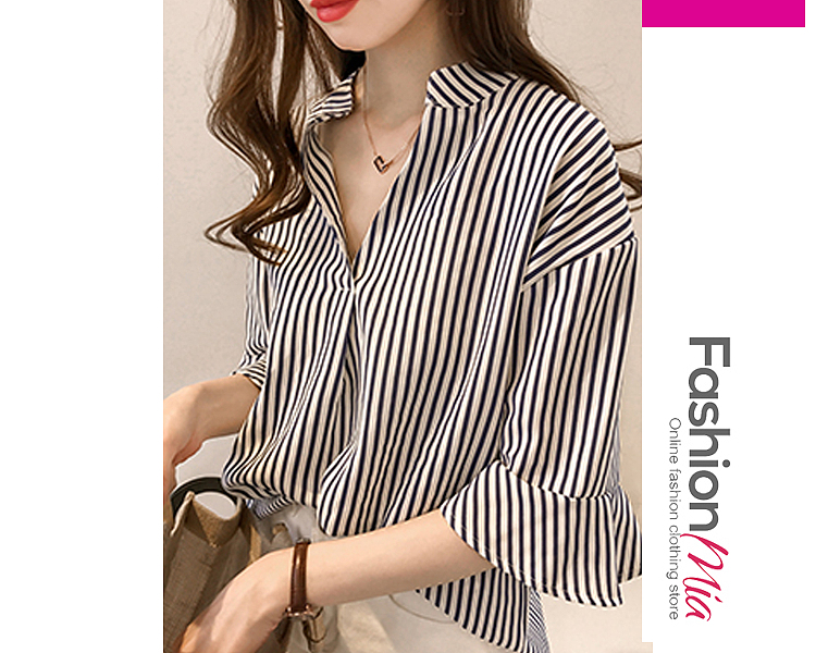 gender:women, hooded:no, thickness:regular, brand_name:fashionmia, style:elegant,fashion,japan & korear, material:cotton, collar&neckline:v-neck, sleeve_type:bell sleeve, sleeve:half sleeve, pattern_type:striped, occasion:basic,daily,date, season:spring,summer, package_included:top*1, lengthsleeve lengthbust