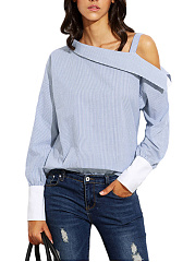 One Shoulder Pinstripe Long Sleeve T-Shirt