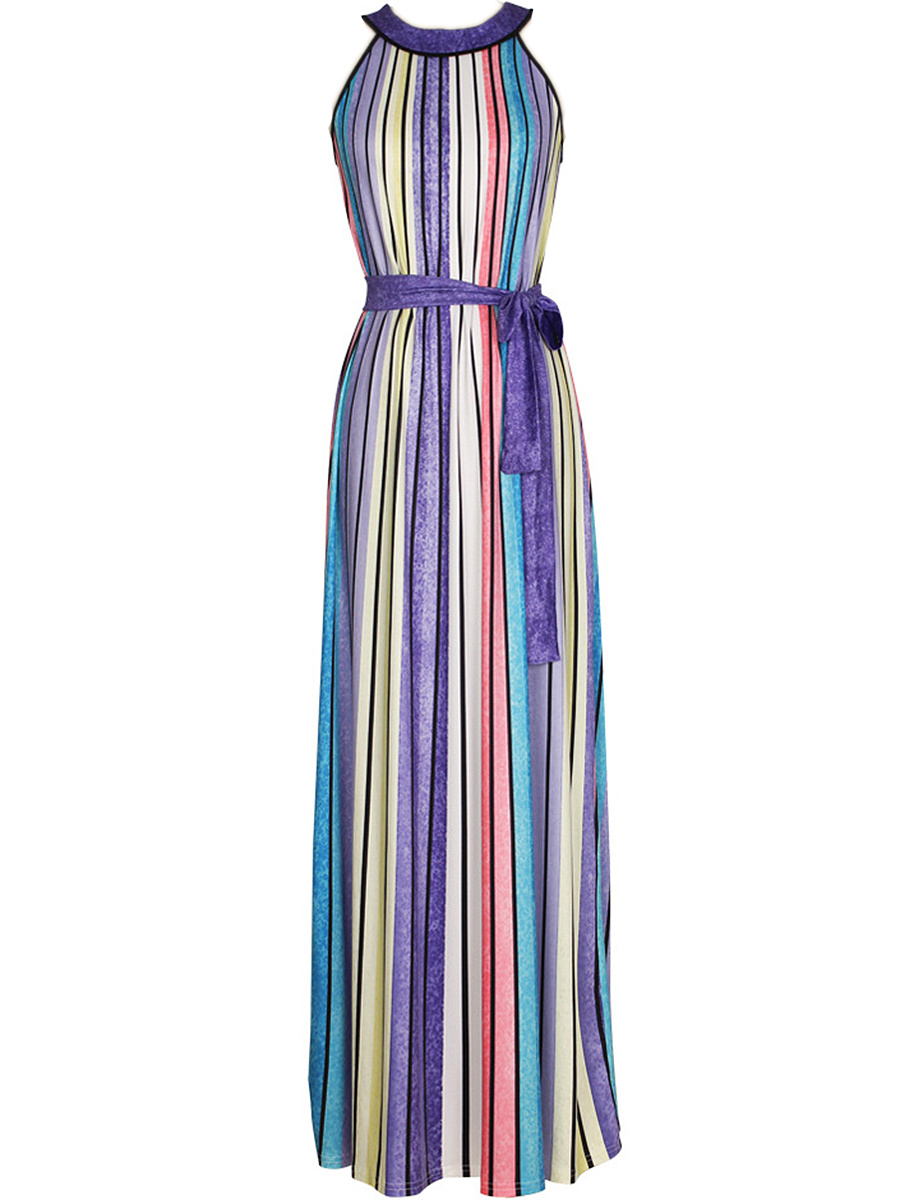Colorful Vertical Striped Pleated Maxi Dress