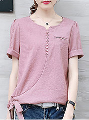 Spring Summer  Polyester  Women  Sweet Heart  Bowknot  Decorative Button  Plain Short Sleeve T-Shirts
